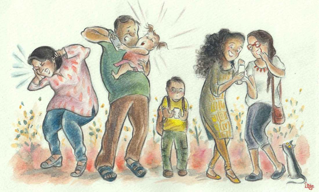 Various People on their Phones. Watercolour and Colour Pencil Illustration.