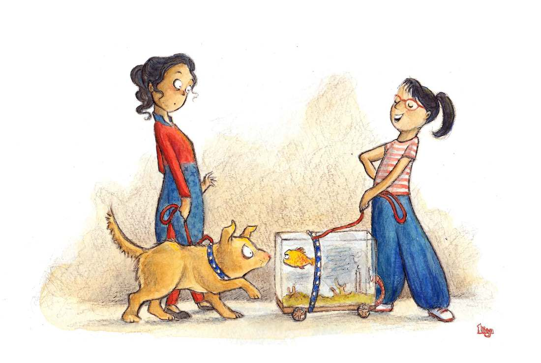 A girl shows off her pet fish in its tank on a leash to the surprise of another girl and her pet dog. Fun watercolour animal illustration by Divya George.