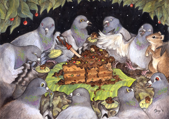 A group of pigeons and a squirrel enjoy a meal in harmony. Watercolour illustration by Divya George