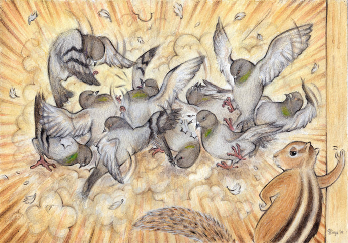 Pigeons fighting as a squirrel looks on. Fun animal illustration by Divya George