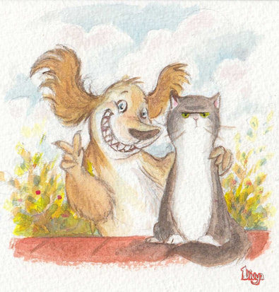 Dog and Cat posing for a photo. Watercolour Illustration.