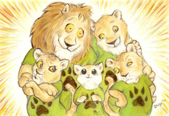 A Cat is in the Lion family, the Cubs are suspicious. Watercolour illustration by Divya George.