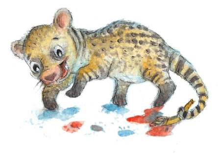 A Civet Painting with its Paws. Watercolour Illustration.