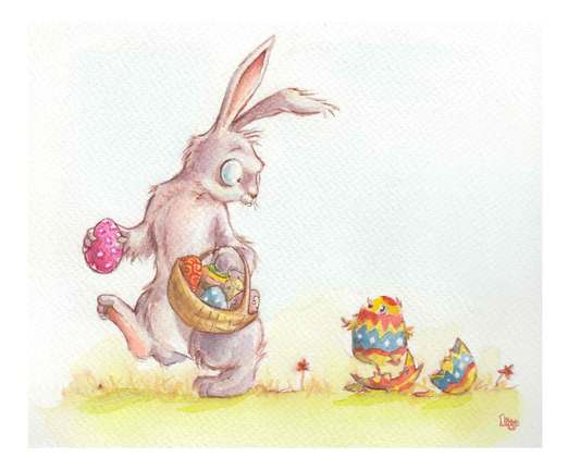 A Chick hatching out of an Easter egg as the Easter Bunny looks on. Fun watercolour animal illustration by Divya George.