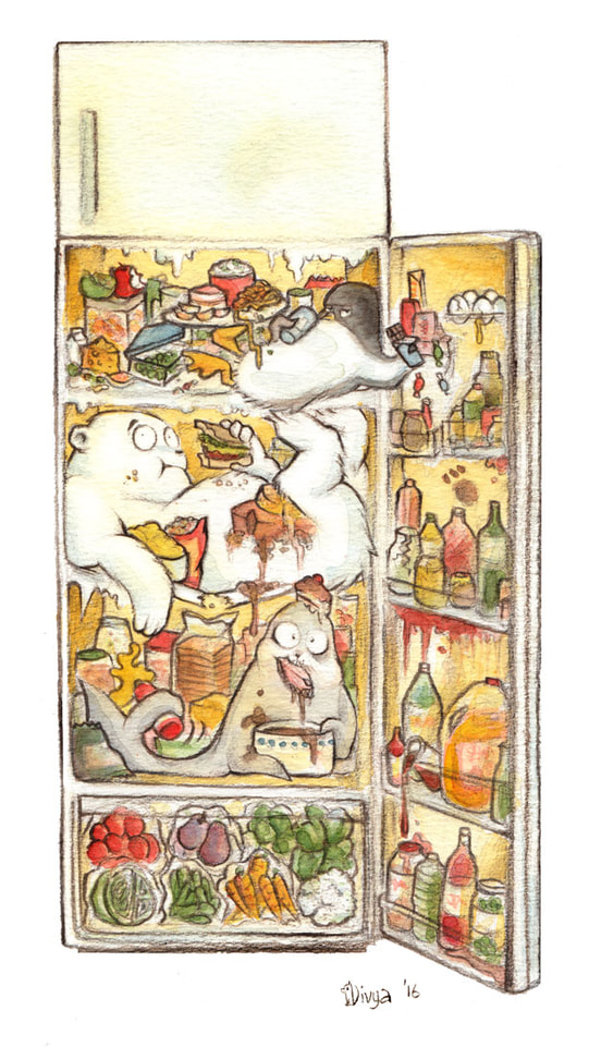 A penguin, a polar bear and a seal are in the fridge. Fun animal illustration by Divya George.