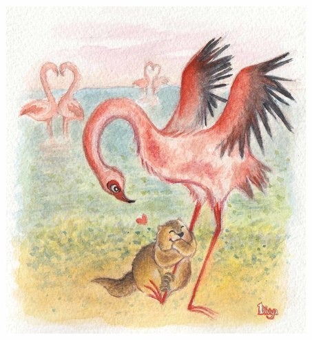 Marmot hugs a Flamingo. Watercolour Illustration.