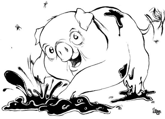 Pig Playing in Mud. Ink illustration.