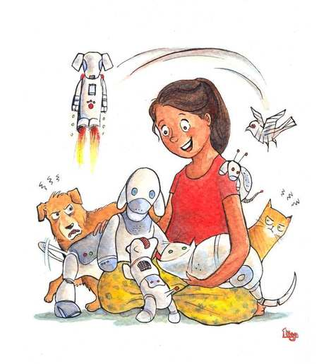 Dog and cat envious of robot pets. Fun Animal Watercolour illustration by Divya George.