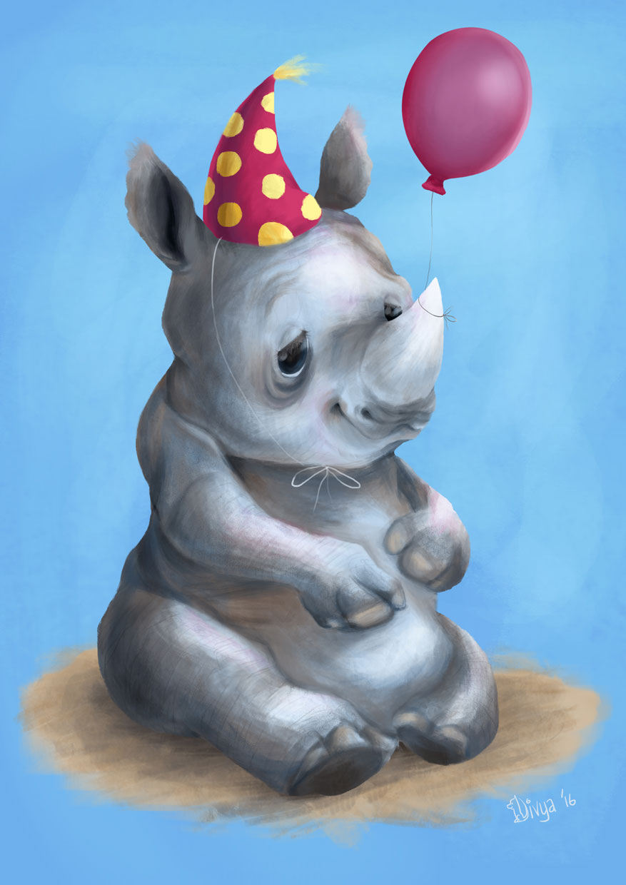 Digital art. Baby Rhino with balloon and party cap. By Divya George.