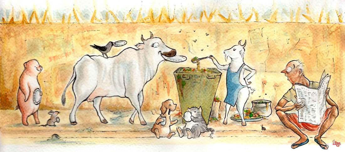 Animals eating out of a garbage can converted to an eatery. Fun Animal Watercolour illustration by Divya George.