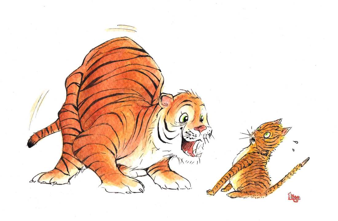 Scaredy cat and tiger. Fun watercolour animal illustration by Divya George.