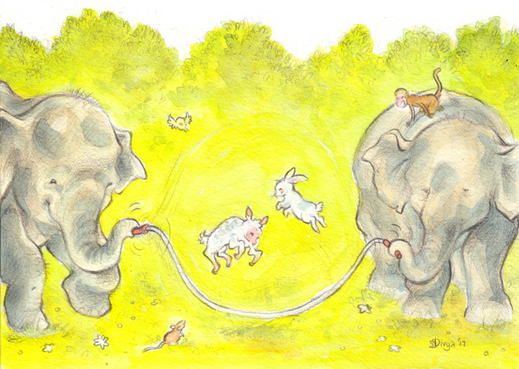 A lamb and bunny skip with the jump rope held by two elephants. Watercolour illustration by Divya George.