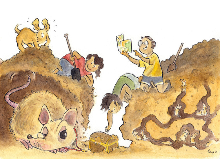 A bunch of kids and a dog are digging for a treasure chest but the rats underground don't seem to be happy. Watercolour illustration by Divya George.