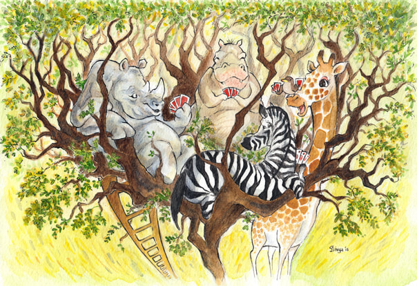A rhino, hippo, zebra and a giraffe along with a bird play a game of cards on the top of a tree.