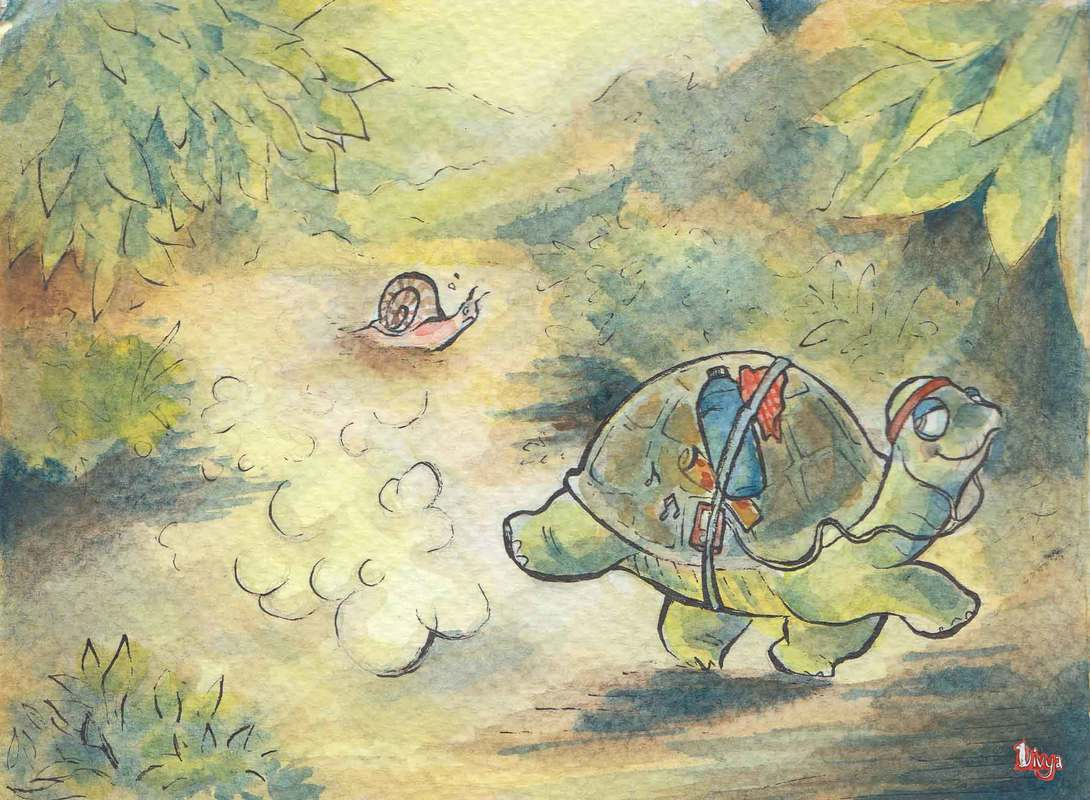 A turtle jogging and overtaking a snail. Watercolour illustration.