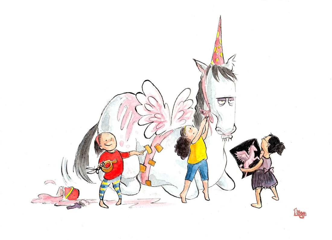 Three little girls are dressing up a horse as a unicorn. Fun animal illustration by Divya George. Watercolour.