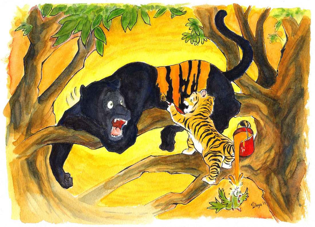 A Cub paints orange stripes on a Black Panther so that it will look like her. Paint spills on a parrot. Watercolour illustration by Divya George.