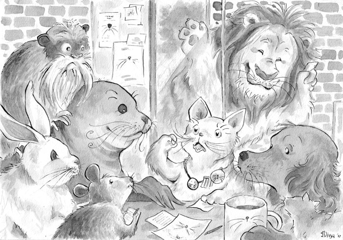 At a club for animals with whiskers, a lion wants to join in. Ink illustration by Divya George.